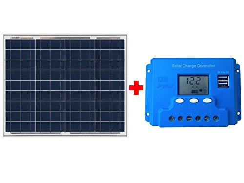 Kit Placa Panel Solar 50w Y Controlador Regulador De Carga